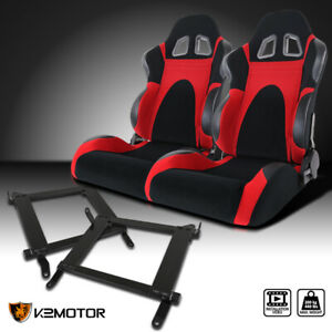 08 17 Mitsubishi Lancer Evo Black Red Faux Suede Pvc Leather Race Seats Brackets