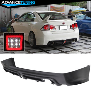 Fits 06 11 Honda Civic 4dr Sedan Mugen Rr Style Rear Bumper Diffuser Twin Outlet