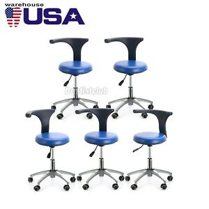 5x Dental Dentist Doctor Assistant Stool Adjustable Mobile Chair Pu Leather Usps