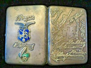 Imperial Russian Cigarette Case Pre 1899 1 2 Pound Of Silver With Gold Monograms