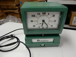 Acroprint 150ar3 Electric Employee Work Time Recorder Punch Clock no Key r079