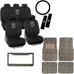 Hearts Cheetah Logo Black Car Seat Covers Floor Mats Steering Wheel Cover Set