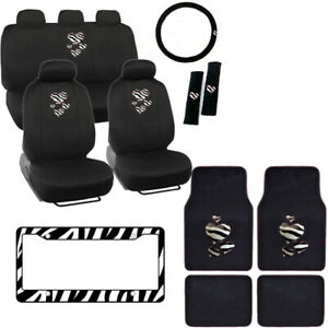 Hearts Zebra Stripes Logo Black Car Seat Covers Floor Mats Steering Wheel Cover