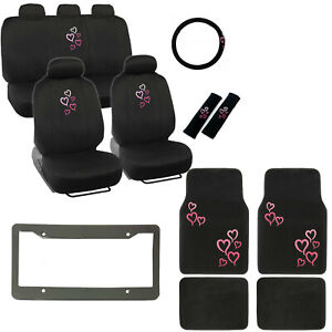 New Pink Hearts Logo Black Car Seat Covers Floor Mats Steering Wheel Cover Set