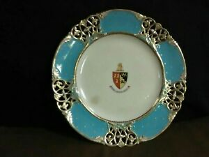Rare Exquisite Armorial Reticulated Filigree Hand Painted Gold Light Blue Plate