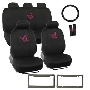 14pc Pink Butterfly Logo Black Car Front Back Seat Covers Steering Wheel Cover