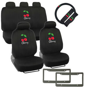 14pc Red Cherry Logo Black Car Front Back Seat Covers Steering Wheel Cover Set