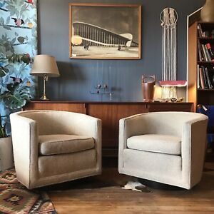 Pair Of Edward Wormley For Dunbar Swivel Lounge Chairs