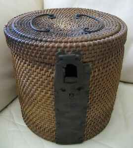 Antique Victorian Old World Hardware Woven Chinese Tea Basket 1800s