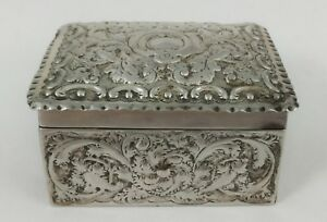 Great Antique 19th C English Repousse Sterling Silver Repousse Jewelry Box Case