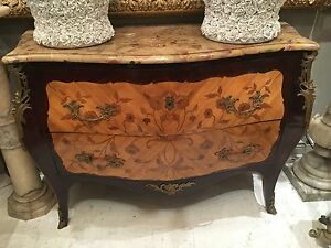 Antique Fine French Inlaid Bronze Mounted Marble Louis Xv Commode Dresser Chest