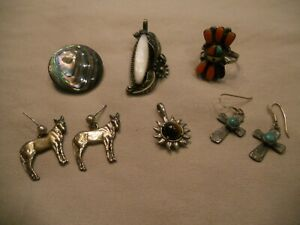 Vintage Sterling Silver Jewelry Lot Wear Scrap Turquoise Coral Mop Abalone