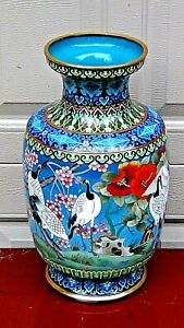 Antique Chines Large Cloisonne Polichrome Enameled Vase With Flying Cranes 1