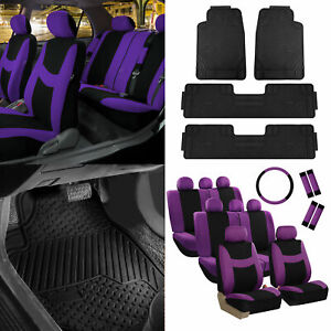 3 Row 8 Seaters Purple Seat Covers Combo W Black Floor Mats Steering Belt Cover