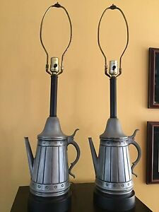 Vintage Pair Of Primitive Country Metal Tea Coffee Pot Lamps