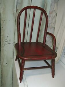 Antique Wood Early Red Child S Windsor Arm Chair Primitive