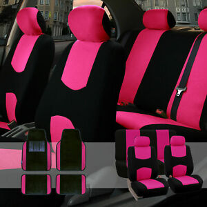 Car Seat Covers Set For Auto Black Pink With Carpet Floor Mat
