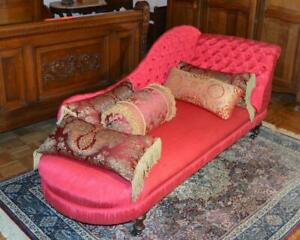 Antique Victorian Chaise Lounge Fainting Couch New Red Tufted Upholstery