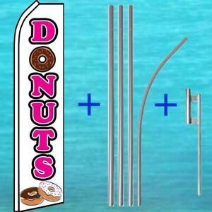 Donuts Flutter Flag Pole Mount Kit Advertising Sign Feather Swooper Ad Banner