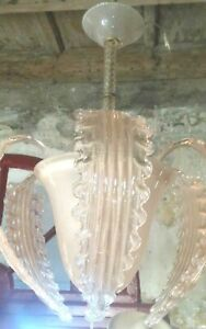Chandelier Barovier Toso 1940 Pendant Rose Glass Murano Rare 3 Lights