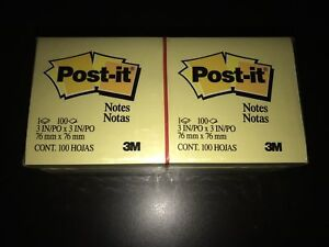 4 For 45 New 12 Count Post it Notes 3 X 3 Canary Yellow 100 sheet Pads
