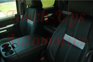 2010 2011 2012 2013 Silverado Lt Crew Cab Katzkin Black White Leather Seat Cover