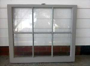Old Vintage Unique Antique Window Frame 6 Pane Sash 32x28 Painted Gray