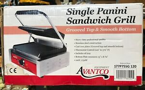 Avantco Commercial Panini Single Sandwich Grill Griddle Model P75sg Brand New