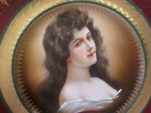 Portrait Plate Antique Lady Burgundy Wine Gilded Gold Leaf Johnson Bros England