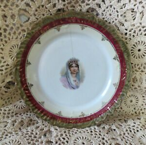 Portrait Plate Antique Exotic Gilded Raised Fleur De Lis Lady Queen Crown Pearls
