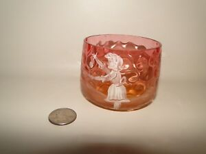 Cranberry Mary Gregory Sugar Bowl Dish