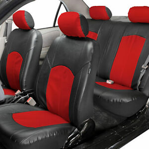 Deluxe Faux Leather Car Seat Covers Sport Top Quality Red For Car Suv