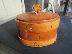 Primitive 1900 S Birch Bark Shaker Box Or Spice Box Small 5 1 4 Long Wood Lid