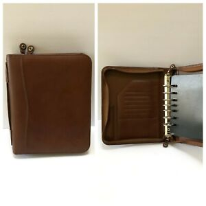 Franklin Covey Leadership Center Classic Brown Leather Planner Binder 7 Ring Zip