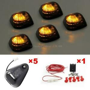 5pcs Amber Led Smoke Roof Cab Marker Assembly Light For Ford E 250 W wiring Pack