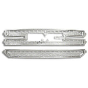 Chrome Snap On Grille Overlay 3 Bar Grill Covers Inserts For 2016 18 Gmc Sierra