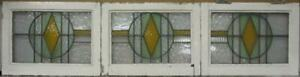 Set Of 3 Old English Lead Stained Glass Windows Gorgeous Geometric 62 25 X 15