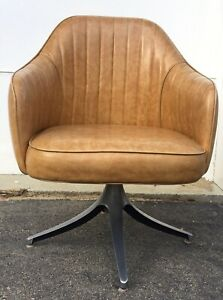 1 Mid Century Modern Vinyl Swivel Bucket Chair Caramel Colored Vinyl Aluminum