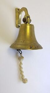 Brass Ships Bell Vintage Solid Brass Nautical Home Decor Rope Wall Bracket
