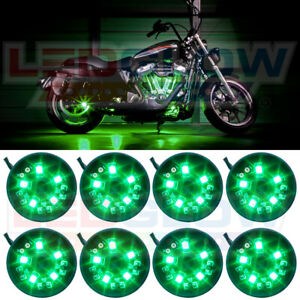 New 8pc Ledglow Green Pod Led Motorcycle Neon Lighting Lights Kit W Power Switch
