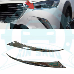 2x Chromed Abs Front Head Light Eyelids Cover Trim Fit For Mazda Cx 3 2015 18 Sz