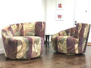 Mid Century Modern Pair Of Swivel Lounge Chairs In Style Of Vladimir Kagan
