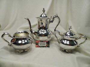 Towle Silver Plated Coffee Tea Pot Service With Creamer And Sugar Bowl