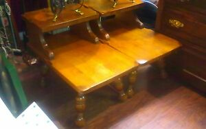 2 Vintage Solid Maple End Tables Pick Up Only