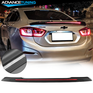 Fits 16 19 Chevy Cruze Sedan Long Led Style Trunk Spoiler Matte Black Abs
