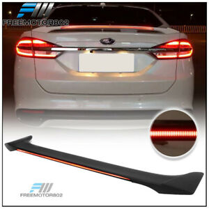 Fits 13 18 Ford Fusion Long Led Style Trunk Spoiler Wing Matte Black Abs