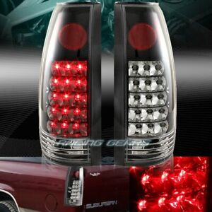 Black Housing Clear Lens Led Tail Lights Lamps Fit 88 98 Chevy Gmc C10 Truck Suv
