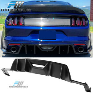 Fits 15 17 Ford Mustang Rear Diffuser 4 Fins Hn Style Pp Unpainted Black