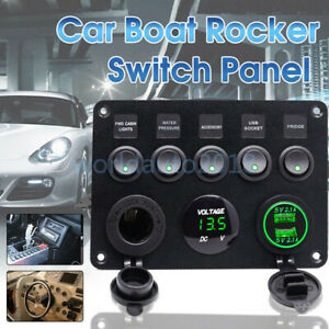 5 Gang Toggle Switch Panel Breaker Green Led Voltmeter Rv Car Marine Boat 12 24v