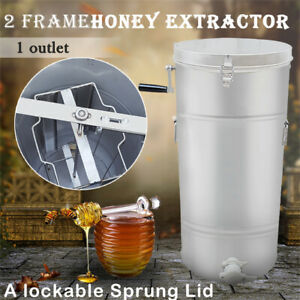 Two Frame Stainless Steel Honey Extractor Centrifuge Tool Lid Beekeeper Supply